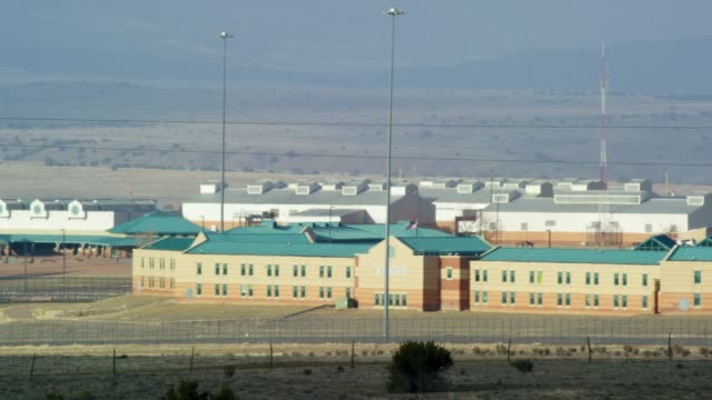 "exterior of the united states penitentiary, administrative maximum facility supermax prison in florence, colorado (fremont county) - the ""alcatraz of the rockies"" - federal prison building stock videos & royalty-free footage"