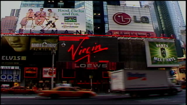 exterior of times square virgin megastore in nyc - virgin megastore点の映像素材/bロール