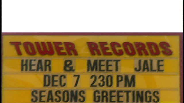 exterior of tower records with sign and lot close up of marquee - tower records stock videos & royalty-free footage