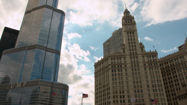 MS Exterior of Trump Tower and Wrigley Building / Chicago, Illinois, United States