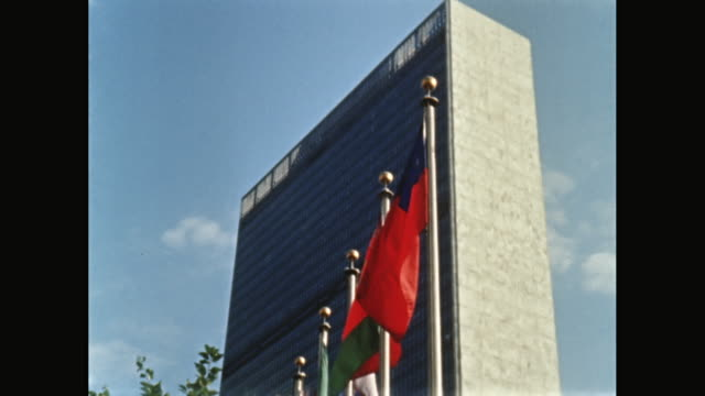 ms exterior of united nations building / midtown manhattan, new york city, new york state, united states - united nations building stock videos and b-roll footage