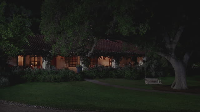 ws exterior of upscale single-story home with lights on at night / santa barbara, california - grounds stock videos & royalty-free footage