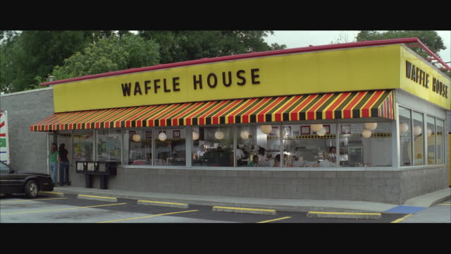 ws exterior of waffle house / usa - letterbox stock-videos und b-roll-filmmaterial