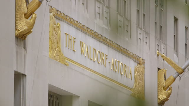 ms r/f exterior of waldorf astoria building / manhattan, new york city, new york state, united states - waldorf astoria stock videos and b-roll footage