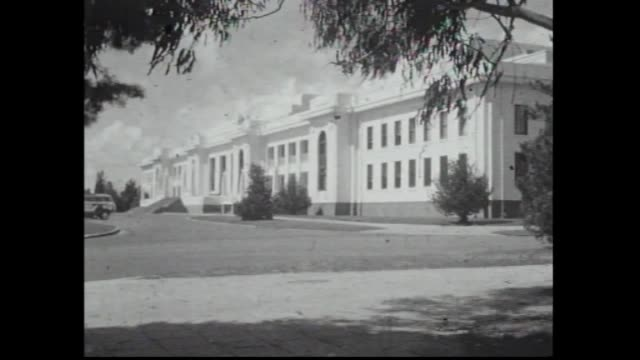 exterior old parliament house / exterior australian war memorial canberra visitors walking towards building children rolling down a grass hill - canberra stock videos & royalty-free footage