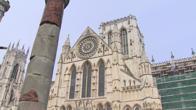 exterior panning views of york minster including zoom into rose window on 16 april 2019 in york united kingdom - rose window stock videos and b-roll footage