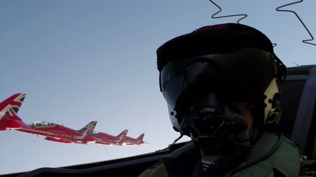exterior point of view air to air cockpit shots red arrows jets flying in formation at raf scampton on february 25, 2015 in scampton, england. - military aeroplane stock videos & royalty-free footage