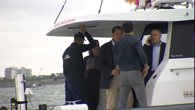 PORTSMOUTH Exterior point of view from boat Duke and Duchess of Cambridge aboard Land Rover motorboat stood at stern