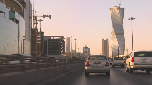 exterior point of view shots driving along a saudi motorway towards the centre of riyadh past various skyscrapers on 12 february 2018 in riyadh,... - riyadh stock videos & royalty-free footage