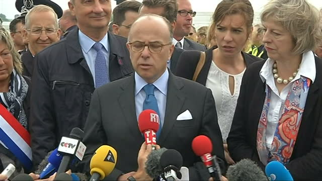 exterior press statement by the french interior minister bernard cazeneuve about co-operation with eurotunnel to improve security in calais during... - bernard cazeneuve stock videos & royalty-free footage