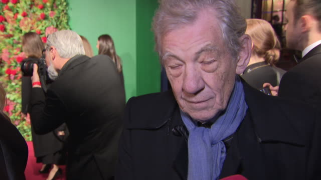 exterior red carpet interview with sir ian mckellen at the 64th evening standard theatre awards hosted in theatre royal on november 18 2018 in london... - theatre royal stock videos and b-roll footage