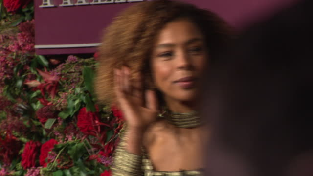 exterior red carpet interview with sophie okonedo at the 64th evening standard theatre awards hosted in theatre royal on november 18 2018 in london - theatre royal stock videos and b-roll footage