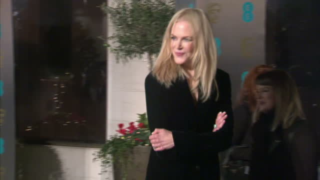 Exterior red carpet shot of Nicole Kidman at the BAFTA Awards at the Royal Albert Hall on February 12th 2017 in London England Contains flashy images