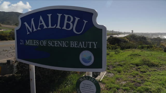 exterior scenic shots of malibu beach including close up shots of the 'malibu' sign and picturesque silhouette shots of palm trees on malibu beach on... - malibu stock videos & royalty-free footage