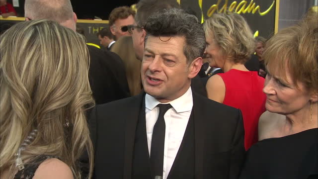 exterior shot andy serkis, actor on academy awards red carpet talking about diversity issues surrounding the oscars nominations. on february 28, 2016... - andy serkis stock videos & royalty-free footage