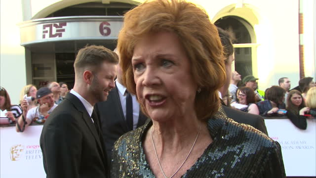 Exterior shot Cilla Black on red carpet talking about being given the BAFTA Special Award for her services to television and entertainment on May 18...