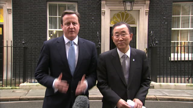exterior shot david cameron & un secretary general ban ki moon speak to the media in downing street about the crisis unfolding in egypt cameron & ban... - 1 minute or greater stock videos & royalty-free footage