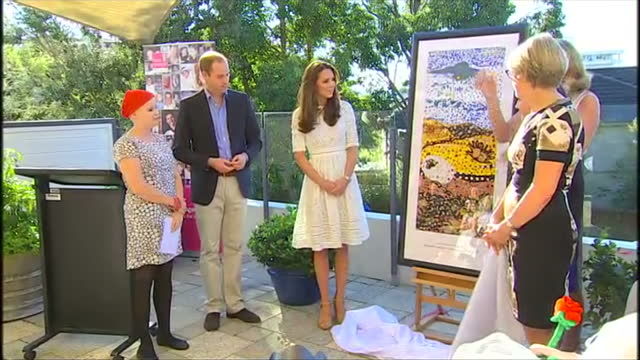 sydney manly exterior shot duke and duchess of cambridge unveil painting and listen to young girl give speech - visit stock videos & royalty-free footage
