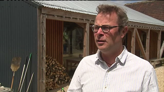 Exterior shot Hugh FearnelyWhittinstall talks about the event of Prince Charles Camilla touring River Cottage HQ praising Prince Charles' endorsement...