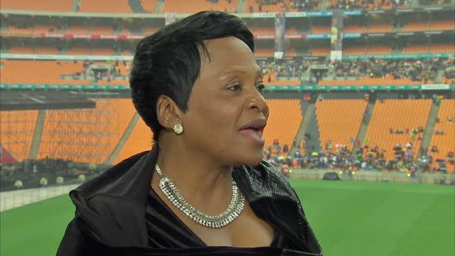 Exterior shot interview Nomvula Mokonyane Premier of Gauteng Province talk about moving on after Mandela's death Interview With Nomvula Mokonyane on...
