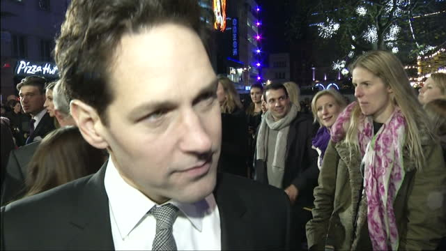 Exterior shot interview Paul Rudd talk about making the film how fun it was in the process Paul Rudd On Filming Anchorman 2 at Leicester Square on...
