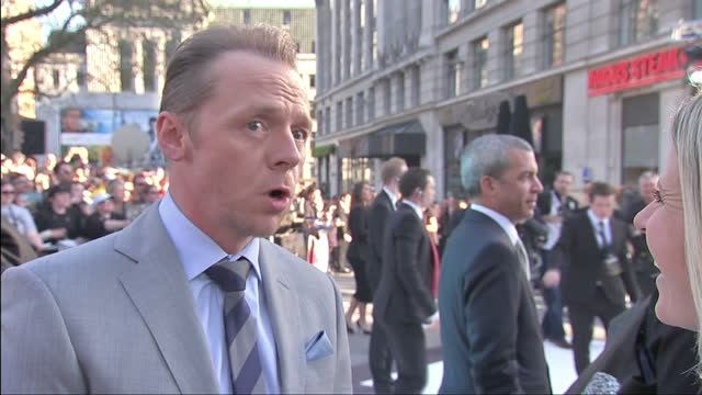 exterior shot interview with actor simon pegg talking about working with jj abrams london premiere of star trek in to darkness on may 03 2013 in... - simon pegg stock videos & royalty-free footage