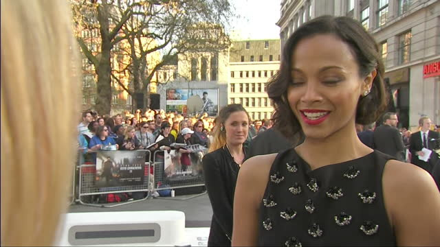 Exterior shot interview with actress Zoe Saldana talking about Director JJ Abrams London Premiere of Star Trek in to Darkness on May 03 2013 in...