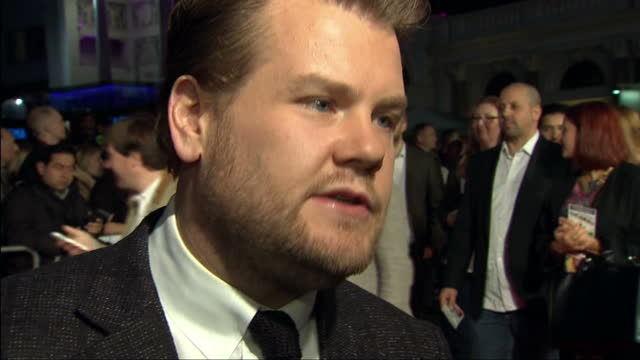 exterior shot james corden answering question on the red carpet talk about talented people talent shows james corden interview at one chance premiere... - chance stock videos and b-roll footage