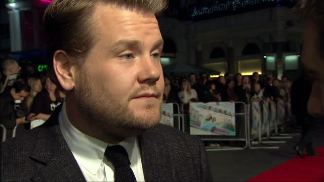 exterior shot james corden answering question on whether he sang in the film james corden talk about new film one chance at leicester square on... - chance stock videos and b-roll footage