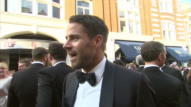 exterior shot jamie redknapp on red carpet talking about being part of game show 'a league of their own' on may 18, 2014 in london, england. - game show stock videos & royalty-free footage