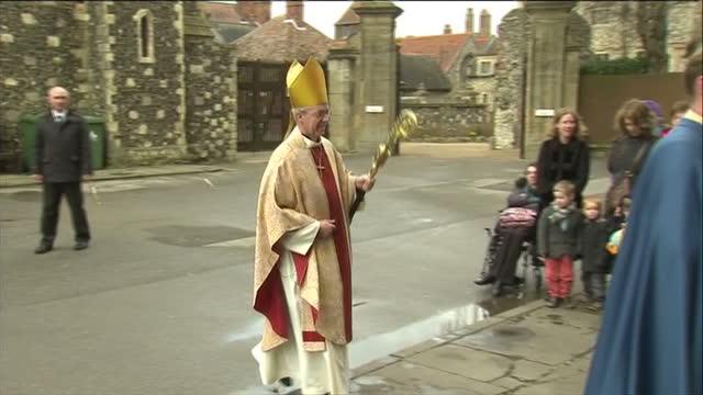Exterior shot Justin Welby Archbishop of Canterbury walks into Canterbury Cathedral Justin Welby Arrives at Canterbury Cathedral on March 31 2013 in...