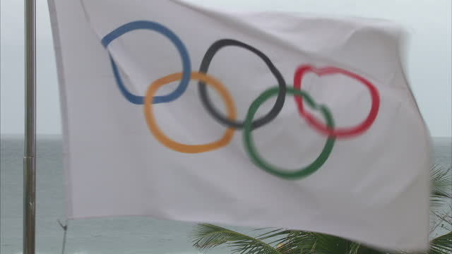 exterior shot of a rio olympics flag blowing in the wind with an f45 aircraft carrier warship sailing in the ocean in the background on august 3 2016... - 記号点の映像素材/bロール