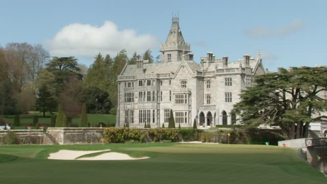 exterior shot of adare manor golf course shot on may 1st 2018 in adare ireland - green golf course stock videos & royalty-free footage
