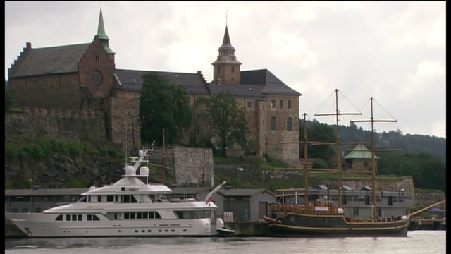 exterior shot of akershus fortress near oslo norway - aerial or drone pov or scenics or nature or cityscape stock videos & royalty-free footage