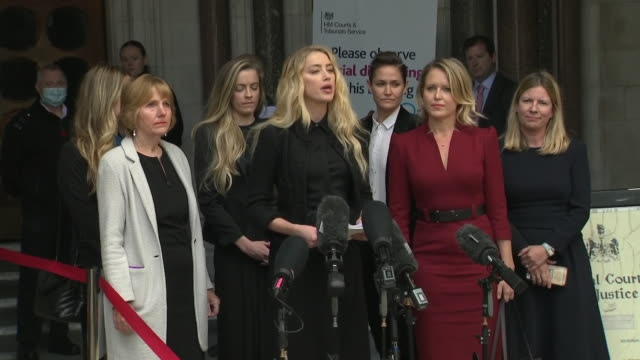 exterior shot of amber heard statement outside the royal courts of justice on 28 july 2020 in london united kingdom - johnny depp stock videos & royalty-free footage