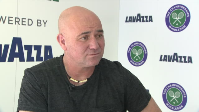 Exterior shot of an interview with former tennis player Andre Agassi about single use plastics at Wimbledon Lawn Tennis Championships on 1 July 2018...