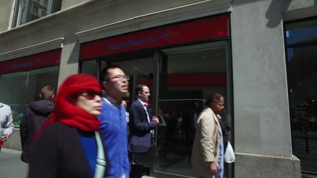 exterior shot of bank of america in new york city no - bank of america stock videos & royalty-free footage