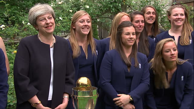exterior shot of british prime minister meeting england women's cricket team during reception at no10 downing street and posing for photo on 29th... - cricket team stock videos and b-roll footage