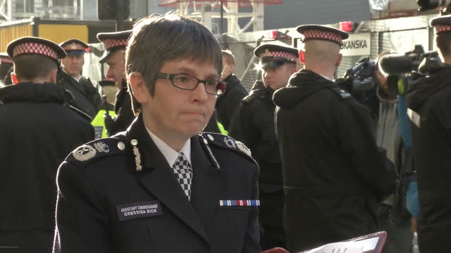 exterior shot of cressida dick assistant commissioner for counter terrorism at the metropolitan police giving a statement following a guilty verdict... - counter terrorism stock videos & royalty-free footage
