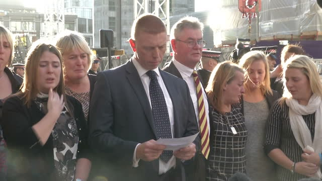 exterior shot of detective inspector pete sparks family liason manager reading a statement on behalf of lee rigby's family following a guilty verdict... - lee rigby stock videos & royalty-free footage
