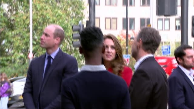 exterior shot of duke and duchess of cambridge visiting the launch of public art exhibition showing portraits of a nation in lockdown at waterloo... - ランベス点の映像素材/bロール