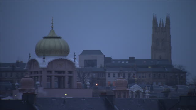 exterior shot of glasgow's skyline and the sikh temple - religion stock videos & royalty-free footage