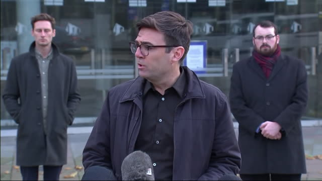 clean exterior shot of greater manchester mayor andy burnham speaking to the media outside bridgewater hall after collapsed talks with government... - bridgewater hall stock videos & royalty-free footage