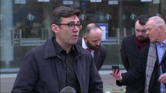exterior shot of greater manchester mayor andy burnham speaking to the media outside bridgewater hall after collapsed talks with government over the... - bridgewater hall stock videos & royalty-free footage