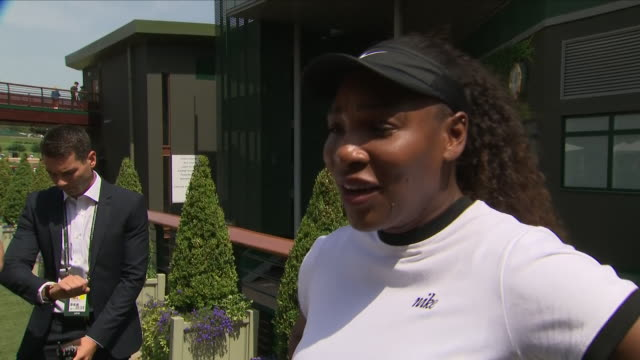 exterior shot of interview with former wimbledon champion tennis player serena williams talking about returning to playing after having a child and... - serena williams tennis player stock videos & royalty-free footage