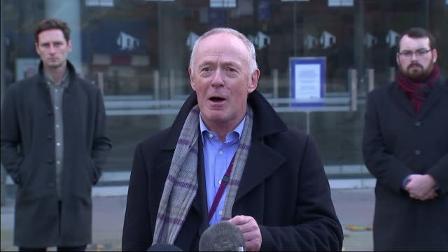 exterior shot of manchester city council sir richard speaks to the media outside bridgewater hall after collapsed talks with government over the city... - bridgewater hall stock videos & royalty-free footage