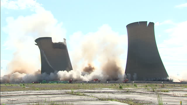 exterior shot of marnham cooling towers being demolished marnham cooling towers demolished on july 15 2012 in nottinghamshire england - nottinghamshire stock videos & royalty-free footage