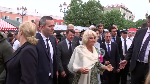 exterior shot of prince charles and duchess of cornwall walkabout and responding to questions about upcoming royal wedding with prince harry and... - harry meghan tour stock videos and b-roll footage