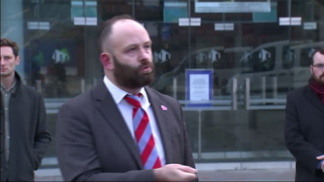 exterior shot of salford's mayor paul dennett speaking to the media outside bridgewater hall after collapsed talks with government over the city... - bridgewater hall stock videos & royalty-free footage