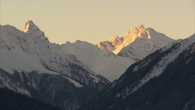 exterior shot of snow capped mountains Snowy Mountains Switzerland on January 23 2013 in Davos Switzerland